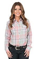 Roper Women's Pink and Sea Foam Green Plaid Long Sleeve Western Shirt
