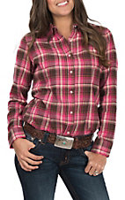Wrangler Women's Pink and Brown Plaid Long Sleeve Flannel Shirt