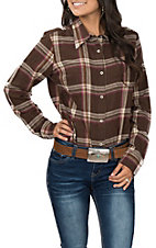 Wrangler Women's Brown Plaid Long Sleeve Flannel Shirt
