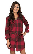 Wrangler Women's Red and Brown Buffalo Plaid Long Sleeve Flannel Shirt Dress