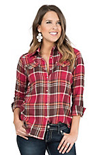 Wrangler Women's Red and Brown Plaid Long Sleeve Flannel Western Shirt