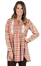 Wrangler Women's Brown and Rust Plaid with Crochet Details Long Sleeve Flannel Tunic Fashion Top