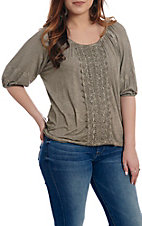 Cowgirl Legend Women's Beige with Lace Fashion Top