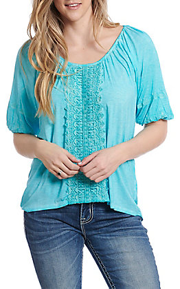 Cowgirl Legend Women's Turquoise with Lace Fashion Top