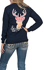 Girlie Girl Originals Navy with Red and Orange Aztec Deer Long Sleeve T-Shirt