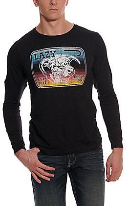 Lazy J Ranch Wear Men's Black Serape Elevation Logo Patch Long Sleeve T-Shirt