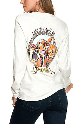 """Girlie Girl Originals Women's Ash Grey """"You're My Brand of Cattle"""" Graphic Long Sleeve T-Shirt"""
