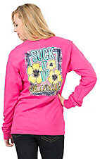 Girlie Girl Women's Pink Suck It Up Buttercup Long Sleeve Tee