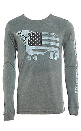 Lazy J Men's Black and White American Flag Long Sleeve T-Shirt