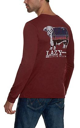 Lazy J Ranch Wear Men's Cardinal Red Dusk Hereford Long Sleeve T-Shirt