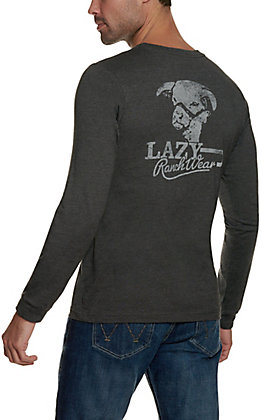 Lazy J Ranch Wear Men's Charcoal Grey Retro Logo Long Sleeve Shirt
