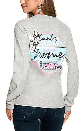 Girlie Girl Originals Women's Grey Country Road Long Sleeve T-Shirt