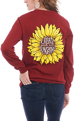 Girlie Girl Women's Cardinal Create Sun Long Sleeve T-Shirt
