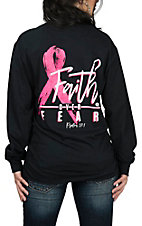 Girlie Girl Originals Women's Black Faith Over Fear L/S T-Shirt