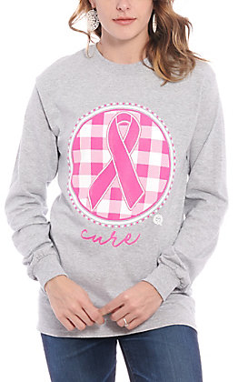 Girlie Girl Women's Grey & Pink Buffalo Plaid Cure Long Sleeve T-Shirt