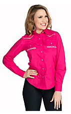 Wired Heart Women's Hot Pink with Multi Stitching Long Sleeve Western Shirt