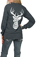 Girlie Girl Originals Women's Grey Deer Season L/S T-Shirt