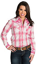 Wired Heart Women's Pink Plaid with Embroidery Long Sleeve Western Shirt