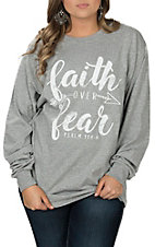Girlie Girl Originals Women's Grey Faith Over Fear L/S T-Shirt