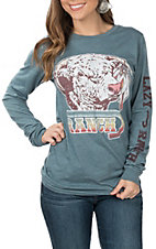 Lazy J Ranchwear Women's Feather Hereford Slate T-Shirt