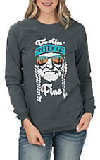 Women's Long Sleeve Grey Feeling Willie Fine T-Shirt