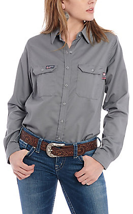 Lapco Women's Grey Flame Resistant Work Shirt