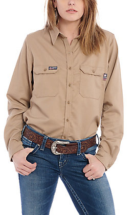 Lapco Women's Khaki Flame Resistant Work Shirt