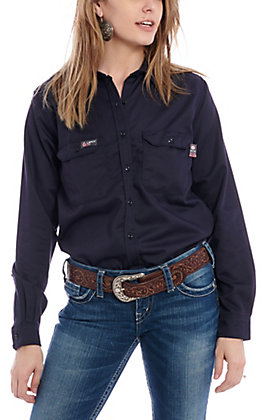 Lapco Women's Navy Flame Resistant Work Shirt