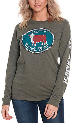 Lazy J Ranch Wear Women's Grey with Patch Logo Long Sleeve Tee