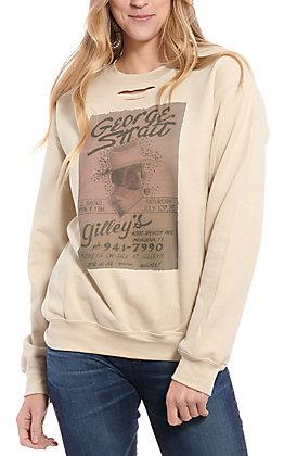 Gina Women's Tan George Strait Gilley's Distressed Sweatshirt