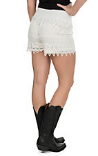 Kathy Women's Off White Lace Shorts