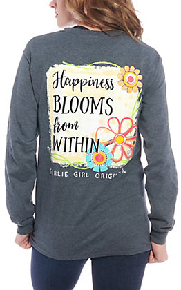 Girlie Girl Originals Women's Heather Happiness Blooms from Within Long Sleeve T-Shirt