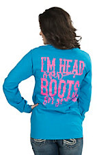 Girlie Girl Originals Women's Sapphire with Neon Pink I'm Head Over Boots For You Screen Print Long Sleeve T-Shirt