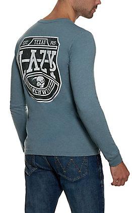 Lazy J Ranch Wear Men's Heather Slate Blue with Plate Logo Long Sleeve T-Shirt