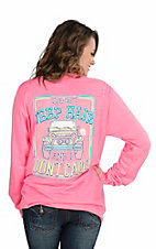 Girlie Girl Originals Women's Neon Pink with I've Got Jeep Hair and I Don't Care and Jeep Screen Print Long Sleeve T-Shirt