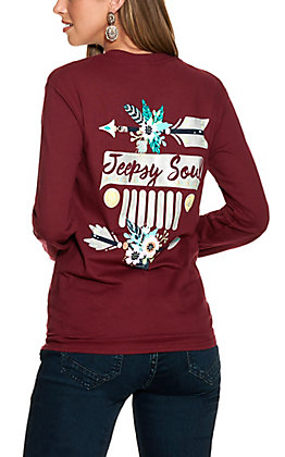 """Girlie Girl Originals Women's Maroon """"Jeepsy Soul"""" Graphic Long Sleeved T-Shirt"""