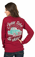 Girlie Girl Originals Women's Red with Turquoise Truck and Jesus Take The Wheel Screen Print Long Sleeve T-Shirt