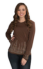 Wired Heart Women's Chocolate with Rhinestones Long Sleeve V-Neck Shirt