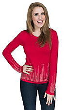 Wired Heart Women's Red with Rhinestones Long Sleeve V-Neck Shirt