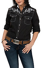Cowgirl Legend Women's Black and White Embroidered L/S Western Snap Shirt