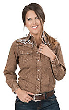 Wired Heart Women's Brown Burn Out with White Heavy Stitch Embroidery Long Sleeve Western Shirt