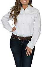 Cowgirl Legend Women's Cream Embroidered Western Snap Shirt