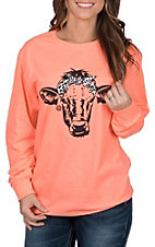 Girlie Girl Originals Women's Retro Coral Leopard Calf Long Sleeve T-Shirt