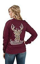 Girlie Girl Originals Women's Maroon Leopard Print Deer Long Sleeve T-Shirt