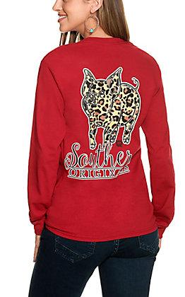 Girlie Girl Originals Women's Cardinal Leopard Print Piglet Graphic Long Sleeve T-Shirt