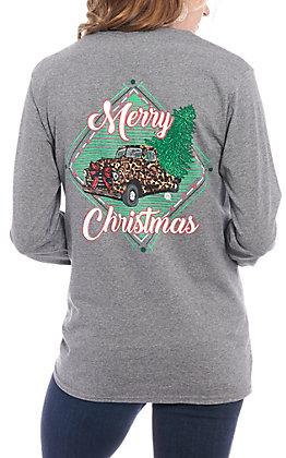 Girlie Girl Originals Women's Grey Merry Christmas Long Sleeve T-Shirt
