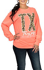 Girlie Girl Originals Women's Heather Coral Leopard TX L/S T-Shirt