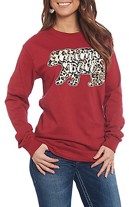 Girlie Girl Originals Women's Leopard Plaid Mama Bear Long Sleeve T-Shirt