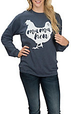 Girlie Girl Originals Women's Navy Mama Hen L/S T-Shirt
