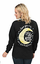 Girlie Girl Originals Women's Black with I Love You To The Moon and Back Screen Print Long Sleeve T-Shirt
